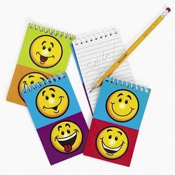 12 Funny GOOFY SMILEY FACE Spiral NOTEPADS/Memo/NOTE/PADS/PARTY FAVORS/60S RETRO/Notebooks/SMILE/Bir