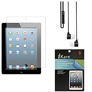 iKare Ultra Clear Pack of 12 Anti-Glare Anti-Scratch Anti-Fingerprint Screen Protector for Samsung Galaxy Tab 3 Lite / Neo T111 7inch + Black Stereo Earphone with Mic and Volume Control
