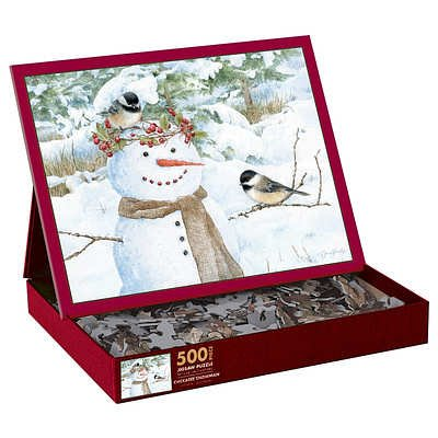 Chickadee Snowman 500 Piece Jigsaw Puzzle