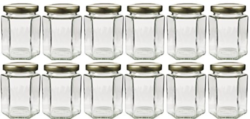 6oz Large Hexagon Glass Jars 12 Pack, 6oz Hex Jars Bulk Value Pack of 12 (Spice Jars 6oz compare prices)