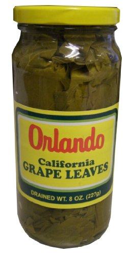 California Grape Leaves -Orlando 1lb SMALL jar, DR.WT. 8oz by Orlando
