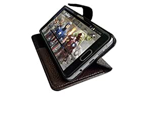 ATV PU Leather BROWN Wallet Case Cover With Built In Stand For Lenovo A7000 Plus
