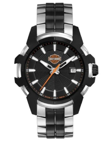 Harley-Davidson® Men's Spider Collection Watch. Stainless-Steel Bracelet. Patterned Dial. Luminous Hands. 78B124