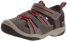 Stride Rite Riff Sandal (Toddler),Grey/Red,4 M US Toddler