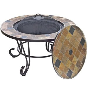 Sorrento Real Slate Mosaic Firepit And Table