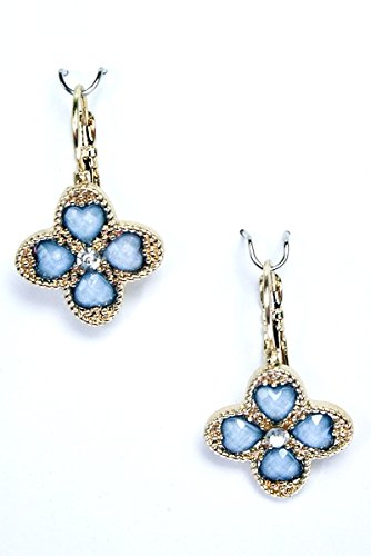 Acrylic Flower Design Crystal Stud Dangle Earrings, L. Sapphire Opal