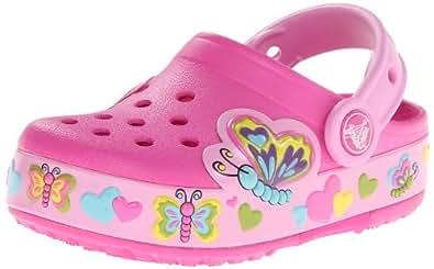 Crocs Lights Butterfly Ps, Sabots fille - Rose (Neon Magenta),   EU 24-25 (C8)