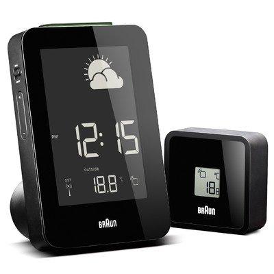 Digital Weather Station Alarm Clock Color: Black