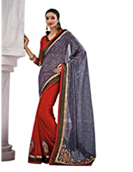 Beautiful Fancy Jacquard Grey Saree With Blouse