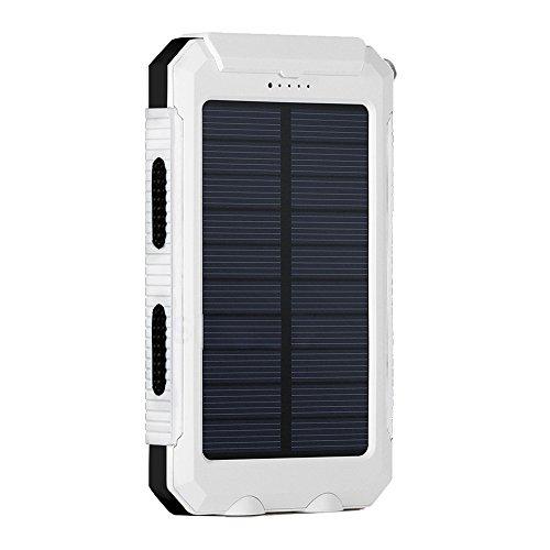 Eonfine-正規品 10000mAh 大容量 ソーラーチャージャー モバイルバッテリー 緊急防災用 SOS機能付き 羅針盤が付き 防水 防塵 耐衝撃 LEDライト付き 旅行 キャンプの良品 iPhone iPad iPod Xperia Galaxy Nexus等対応 2USBポート 二つの充電方法 ソーラー パワーバンク (ブラックホワイト)