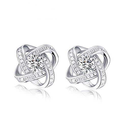 Tyzon 925 Sterling Silver Flower Desing with Cubic Zirconia Women Stud Earrings High Quality
