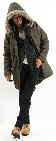ミリタリーモッズコート ファー付き 中綿 ダウン モッズ ジャケット コート ブルゾン メンズ Mサイズ カーキ