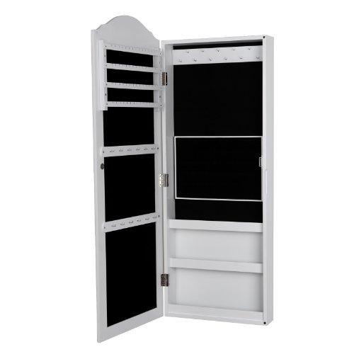 songmics armoire murale bijoux avec miroir 96cm jbc83w. Black Bedroom Furniture Sets. Home Design Ideas