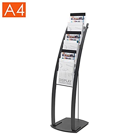6 Pocket Black A4 Brochure Stand - Floor Standing