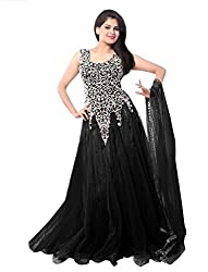 Ethnicbasket Women's Net Ethnic Semi-Stitched Gown (BE234014H_Black)