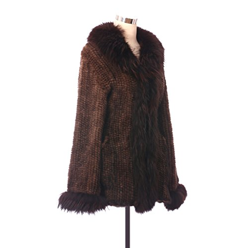 Qiudu Women's Slim Knitted Mink Fur Coat With Raccoon Fur Vintage Jacket Coffee L