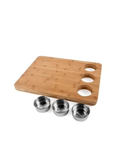 Core Bamboo Pro-Chef Butcher's Block With 3 Prep Bowls, Natural