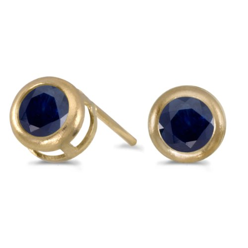 14k-Yellow-Gold-Round-Sapphire-Bezel-Stud-Earrings