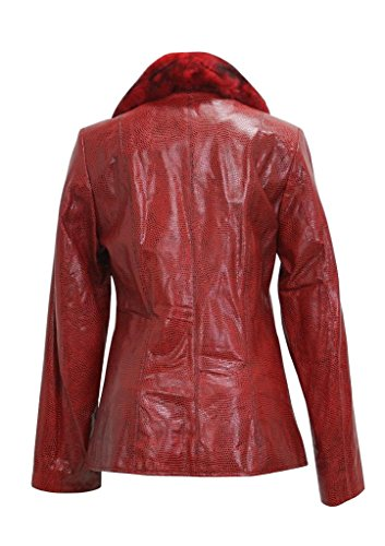 Bergama Black Dot Lamb Leather Jacket with detachable Rex Rabbit Collar - X-Large - Red