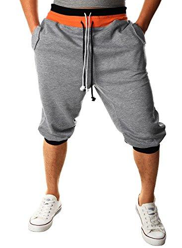 HEMOON Pantaloni da Uomo Jogging Tuta sportivo Tacksuit Slim Fit Grigio-3/4 Medium