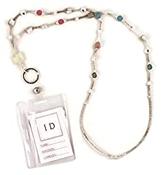 Beaded Lanyard ID Badge Holder Silver and Pastel Multicolor, 35\