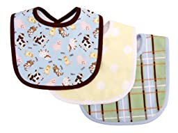 Trend Lab 3 Count Bib Set, Baby Barnyard