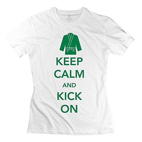 Zhitian Women'S Keep Calm Kick T-Shirt - Xs White