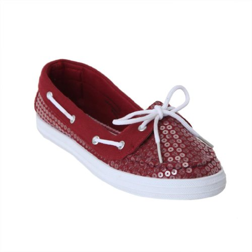 Twisted Women'S Champion Sequin Overlay Athletic Boat Shoe - Red, Size 7