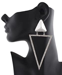 JOTW 2 Pairs of Silvertone Iced Out Pyramid Triangle Shape 5 Inch Stud Earrings
