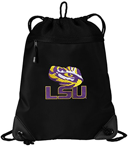 Lsu Drawstring Bag Backpack Lsu Tiger Eye College Logo Sophisticated Microfiber & Mesh- For School Beach Gym
