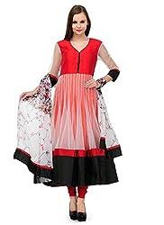 Isha Enterprise Women's Georgette Net Anarkali Suits(KFP1006_Red)