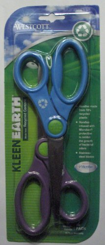 Scissors KleenEarth Recycled with Anti Bacterial Protection 8 Inch 2-Pack Acme United 14882 - 1