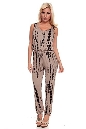 Lolli Couture Printed Sleeveless Scoop Neck Long Pant Jumper M Tan front-598149