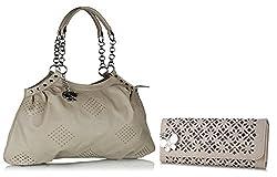 Butterflies Women's Combo Handbag (Beige) (BNS MJ027)
