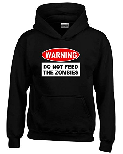 Cotton Island- Felpa hoodie bambino TZOM0049 warning do not feed the zombies, Taglia 9-11anni