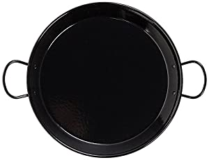 La Valenciana 30 cm Enameled Steel Induction Compatible Paella Pan with Ceramic Handles, Black