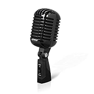 Pyle PDMICR42BK Classic Retro Vintage Style Dynamic Vocal Microphone with 16ft XLR Cable (Black)