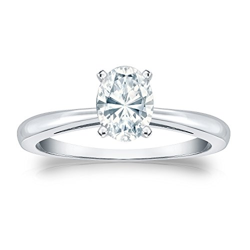 Igi Certified Platinum Oval Diamond Solitaire Ring In 4-Prong (3/4 Cttw, G-H Color, Si1-Si2 Clarity), Size 6
