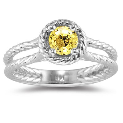 Yellow Sapphire Ring in 14K White Gold