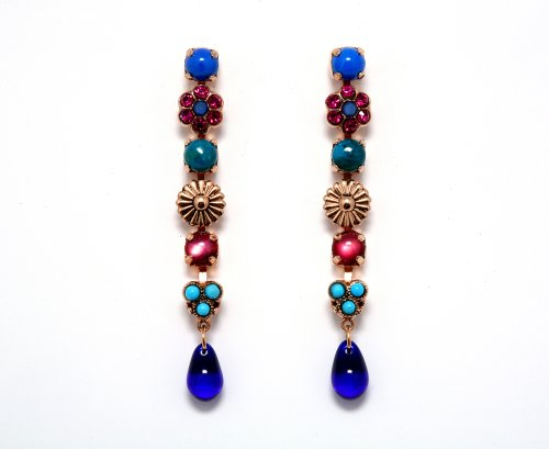 Amaro Jewelry Studio 'Indigo' Collection 24K Rose Gold Plated Dangle Earrings Ornate with Tear Drops, Abalone, Turquoise, Lapis Lazuli and Swarovski Crystals