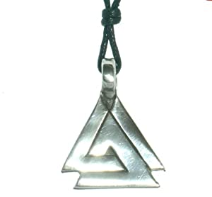 Norse Viking Valknut Talisman Necklace Made From Alpaca Silver On Adjustable Cord
