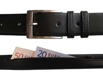 Idées cadeaux pour homme! Ceinture en cuir de qualité pour hommes avec poche secrète - Idéal pour cacher de l'argent tout en voyageant (Taille de ceinture: 100-110cm)