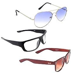 Elligator Stylish Aviator Silver Blue And White Nightvision With Brown Wayfarer Sunglasses Combo ( Set of 3 )