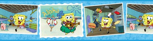 Brewster 147B02105 Nickelodeon Sponge Bob Post Card Wall Border - 1