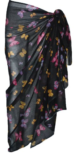 Black Sarong with Butterfly Design