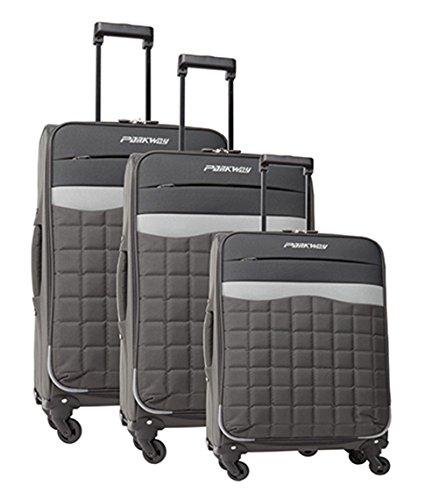 Lot de 3 valises-chariots POLYESTER 600D - gris anthracite