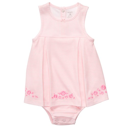 Carter's Baby Girls' Pink Checkered with Flowers Romper Sunsuit