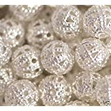 "100 Silver Plated Filigree Beads 6Mm - ""Pretty Hollow Spacer Beads"""