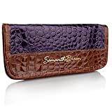Samantha Brown Croco-Embossed Passport Wallet with Tags - PURPLE