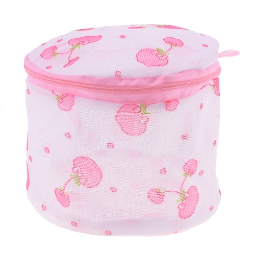 Plastic Frame Cherry Print Meshy Foldable Underwear Bra Washing Bag Pink front-165477